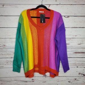 NWT Fashion Nova Chasing Rainbows Pullover Sweater